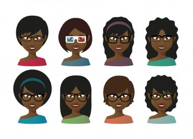 Female avatars  wearing glasses