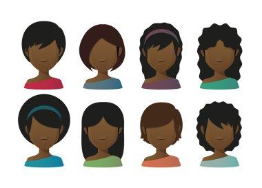 Faceless female avatars set