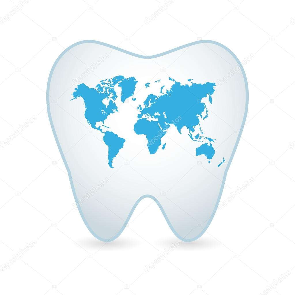 Tooth icon with a world map stock vector jpgon 54957019 tooth icon with a world map stock vector gumiabroncs Images