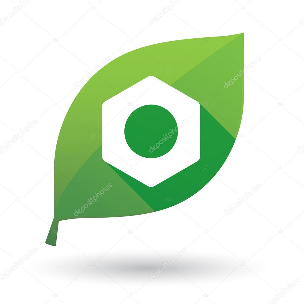 Green leaf icon with a  nut