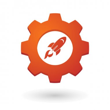 Gear icon with a rocket