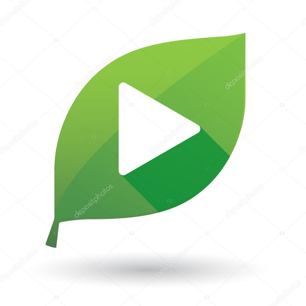 Green leaf icon with a play sign