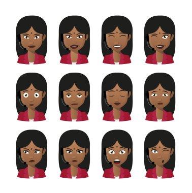 Female indian avatar expression set wearing headset