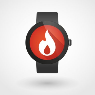 Smart watch icon with a flame