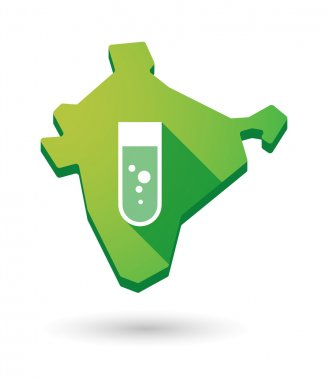 India map icon with a chemical test tube