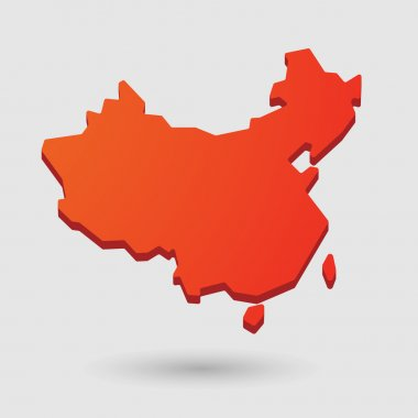 Red  China map icon