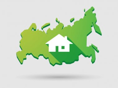 Russia map icon with a house
