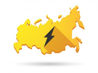 Long shadow Russia map icon with a lightning
