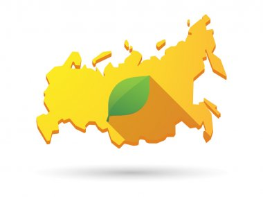 Long shadow Russia map icon with a green leaf