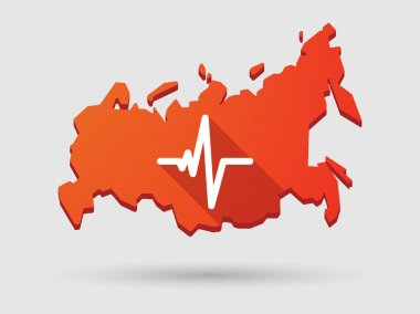 Long shadow Russia map icon with a heart beat icon