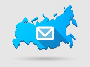 Long shadow Russia map icon with an email sign