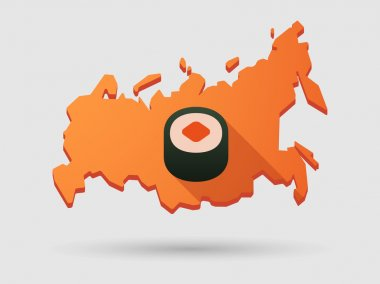 Long shadow Russia map icon with a sushi