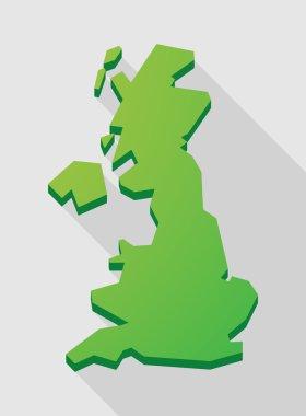 green long shadow United Kingdom map