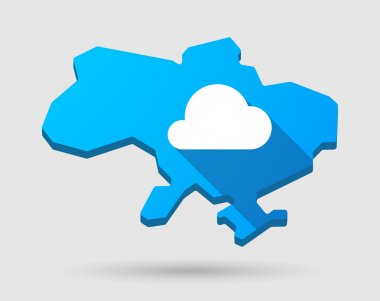 Ukraine green map icon with a cloud