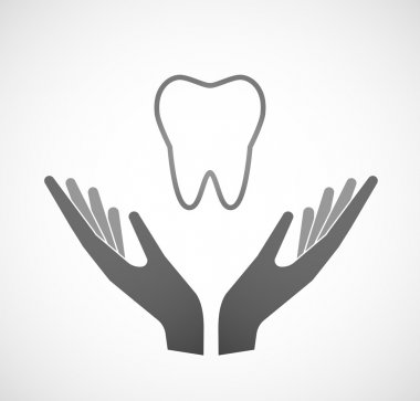 Two hands offering a tooth