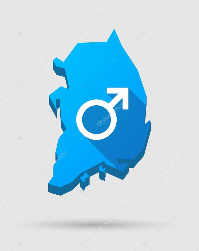 Blue South Korea map with a male sign
