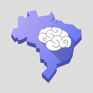 Purple Brazil map with a brain
