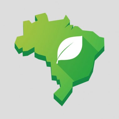 Green Brazil map with a leaf