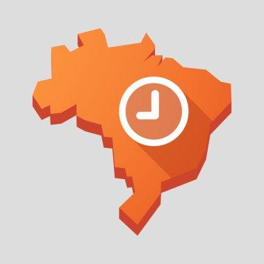 Orange Brazil map with a clock