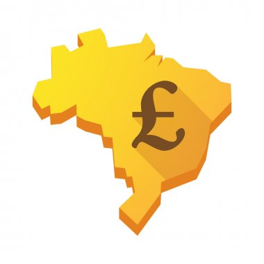 Yellow Brazil map with a pound sign