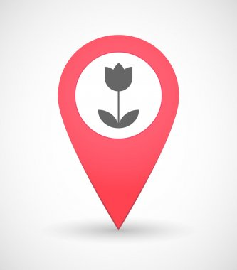Map mark icon with a tulip