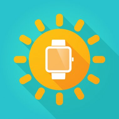Long shadow sun icon with a smart watch