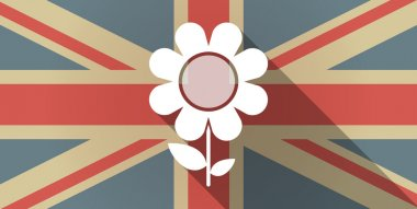 UK flag icon with a flower