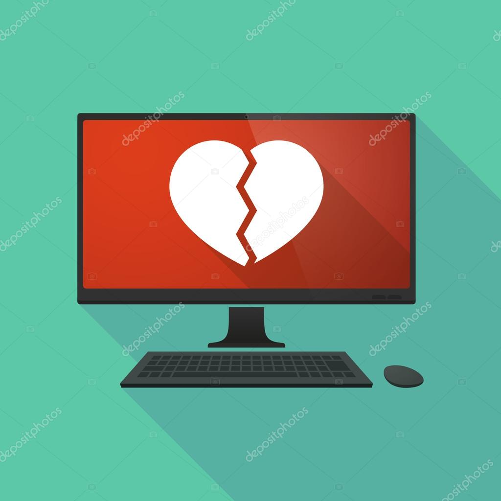 Personal Computer With A Broken Heart Stock Vector Jpgon 74872489