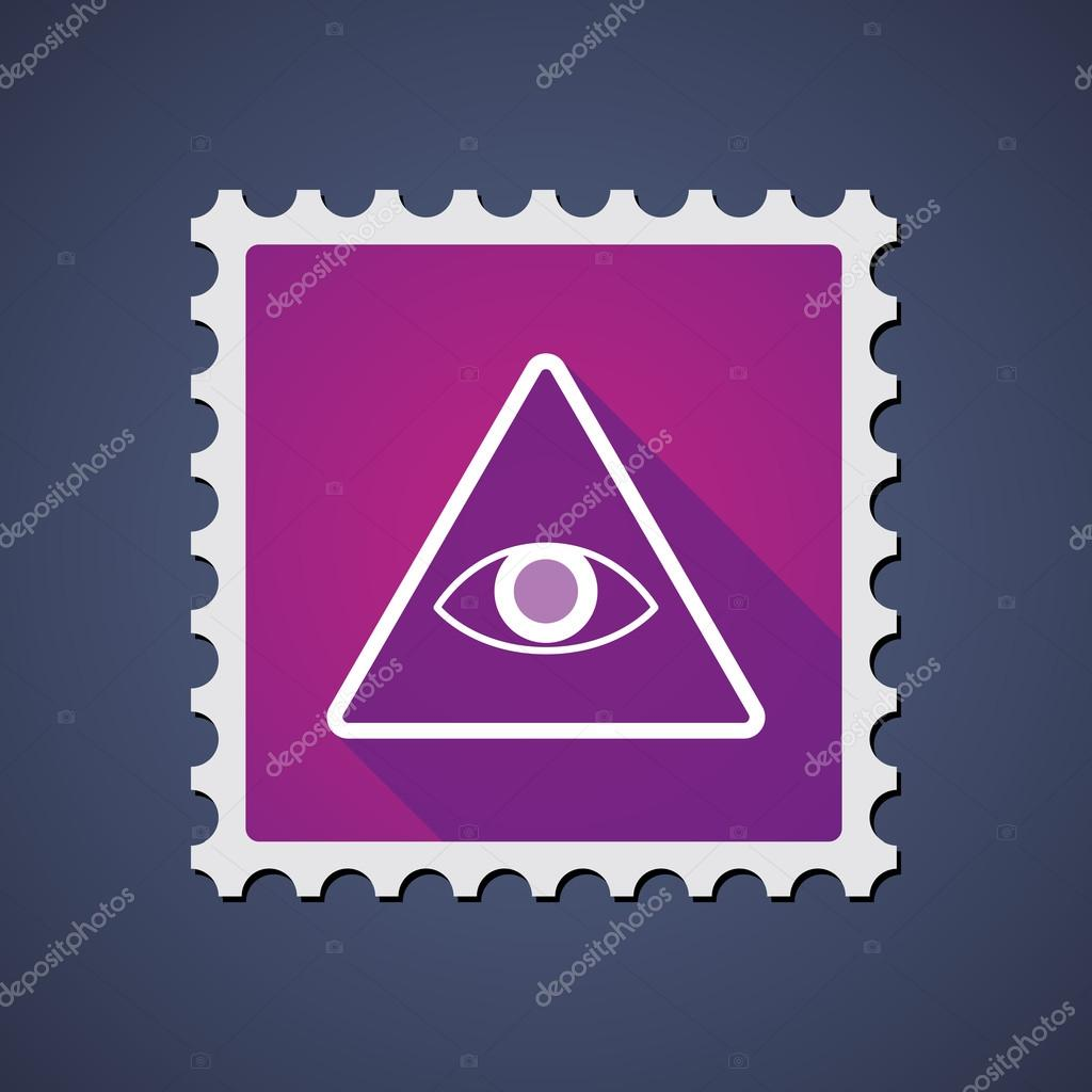 Purple mail stamp icon with an all seeing eye