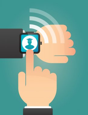 Hand pointing a smart watch with a student
