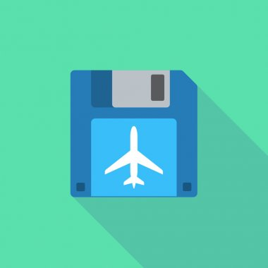 Long shadow floppy icon with a plane