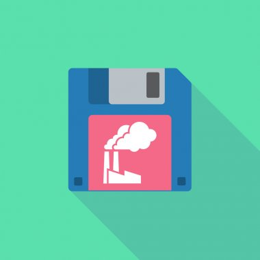 Long shadow floppy icon with a factory