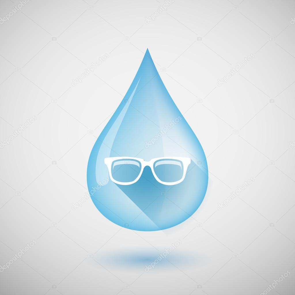 692c02598 Longa sombra água gota ícone com um óculos — Vetores de Stock ...