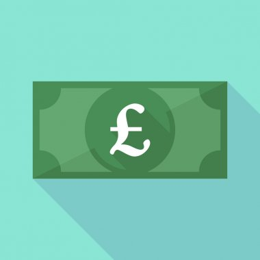 Long shadow banknote icon with a pound sign