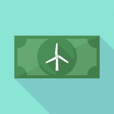 Long shadow banknote icon with a wind generator
