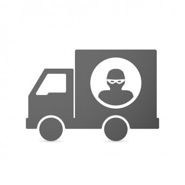 Isolated delivery truck icon with a thief