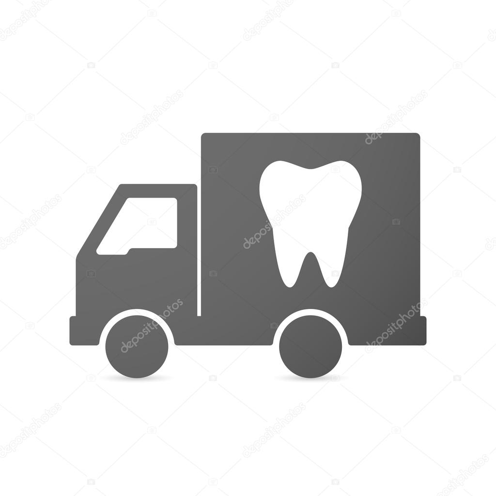 Isolated delivery truck icon with a tooth