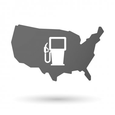 USA map icon with a gas station