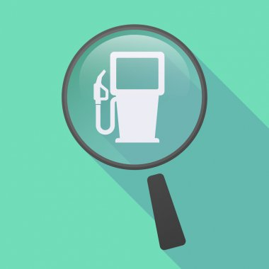 Long shadow magnifier icon with a gas station
