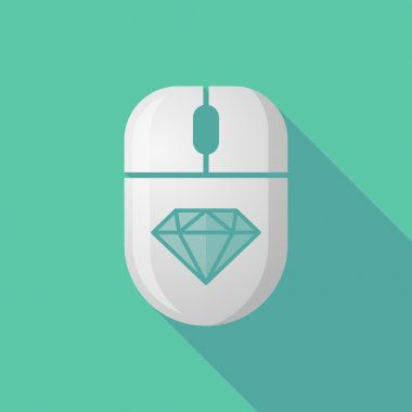 Wireless long shadow mouse icon with a diamond