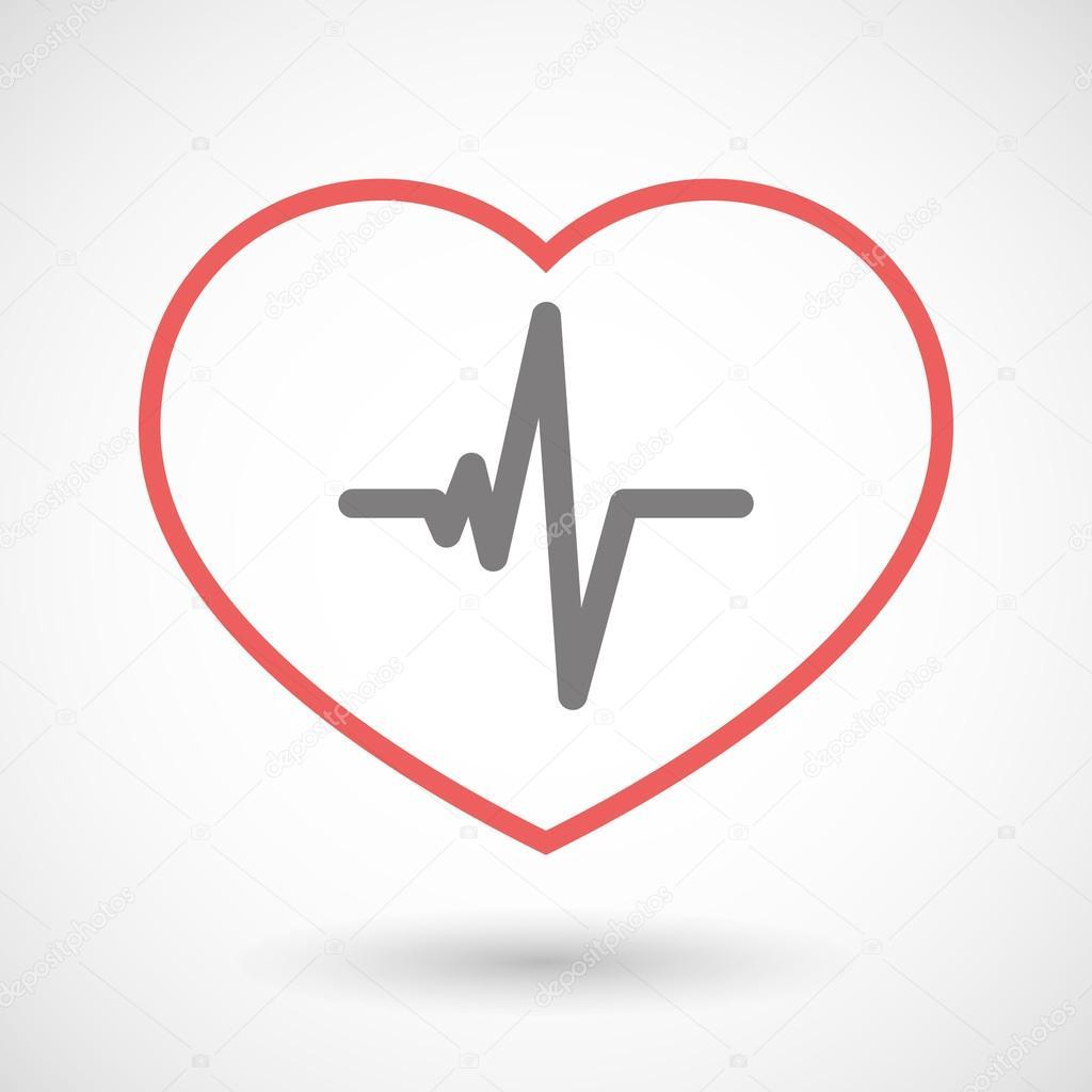 Linie-Herz-Symbol mit einem Herzen schlagen Zeichen