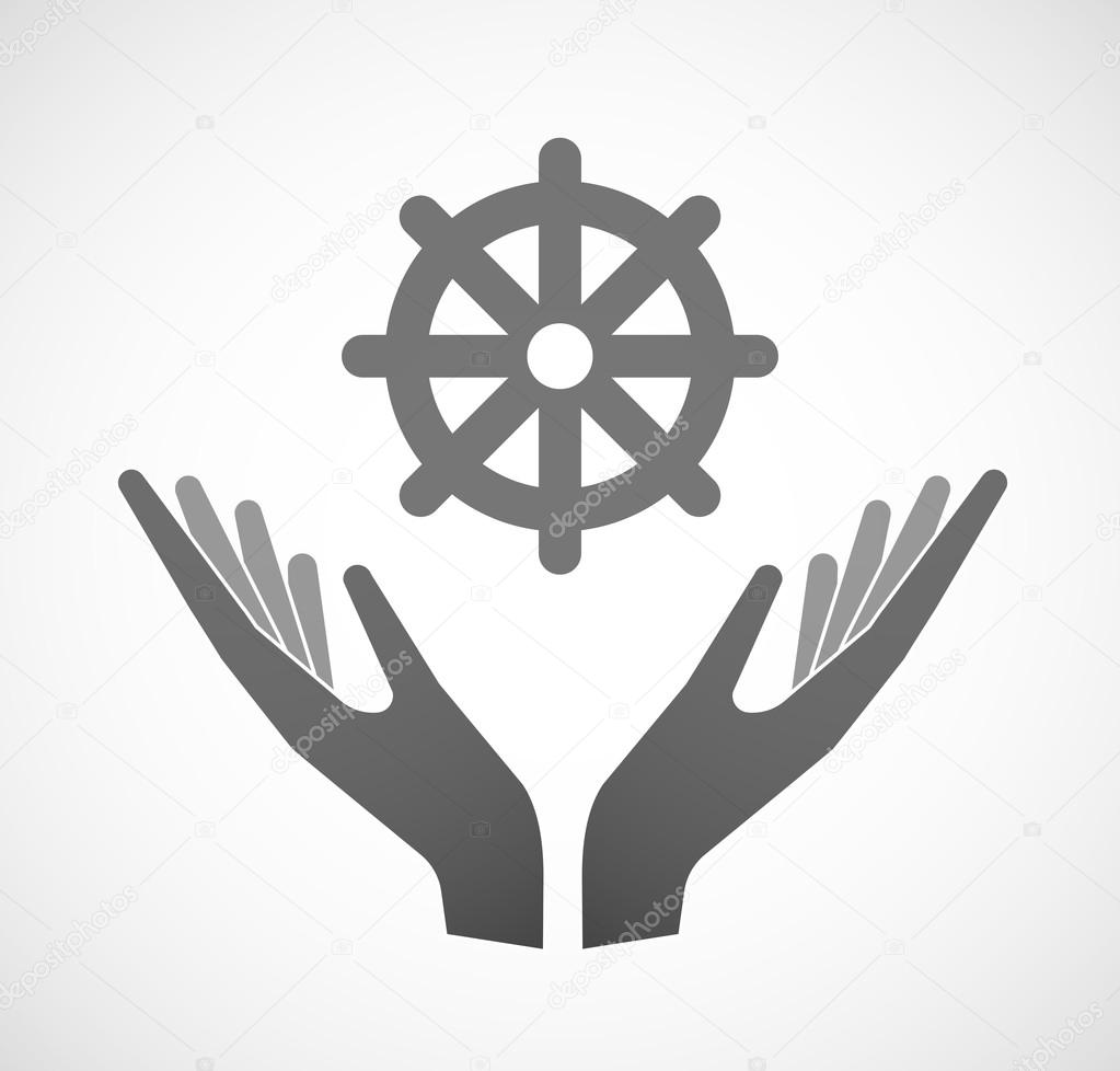 Two Hands Offering A Dharma Chakra Sign Stock Vector Jpgon 88001314