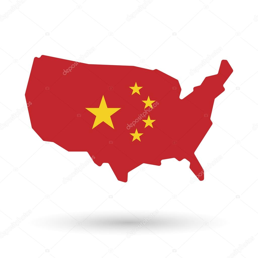 Isolated USA vector map icon with the five stars china flag sym