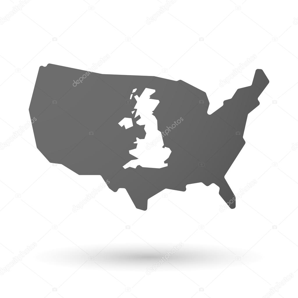 isolated usa vector map icon with a map of the uk stock vector