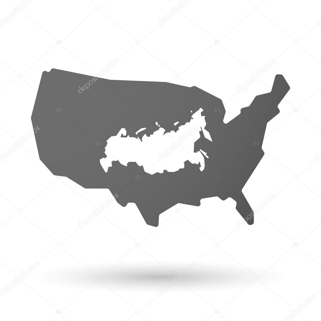 isolated USA vector map icon with a map of Russia — Stock Vector ...