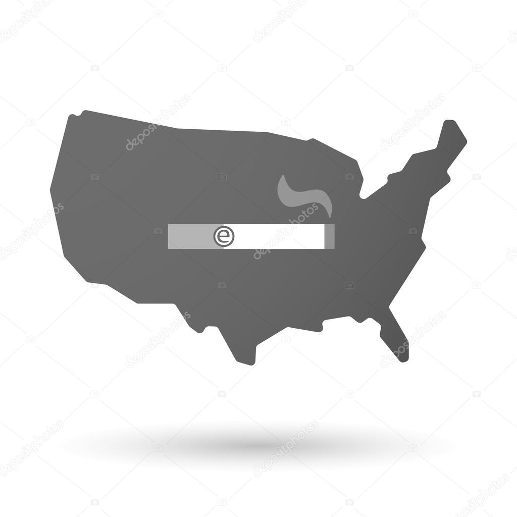 isolated USA vector map icon with an electronic cigarette