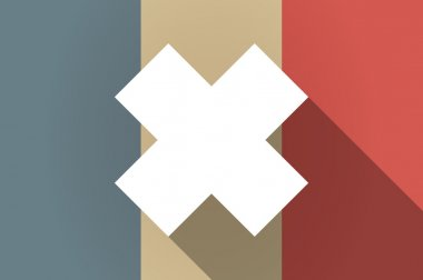 Long shadow flag of France vector icon with an irritating substa