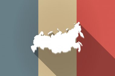 Long shadow flag of France vector icon with  a map of Russia