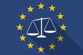 Vlajka Evropské unie dlouhý stín s nevyváženou váhu scal