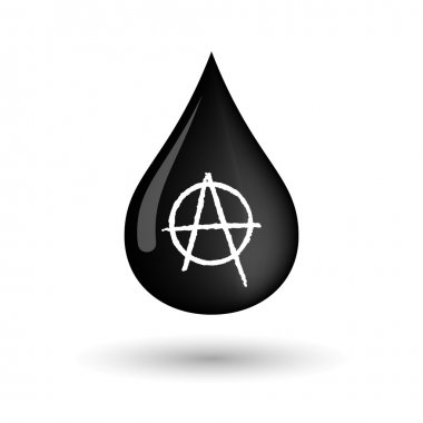 Vector oil drop icon with an anarchy sign